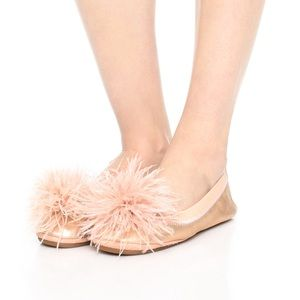 marabou flats in rose gold